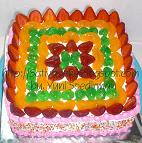 rainbow cake 22 x 22 cm fruity full for mbak mita