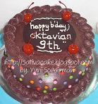 rainbow cake dengan coklat ganache
