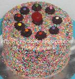 rainbow cake with ganache coklat