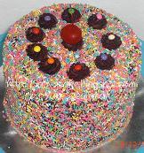 rainbow cake ganache coklat