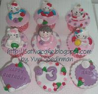 cup cak set karakter hello kitty 3D