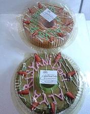 chiffon cake pandan dan strawberry
