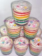 Rainbow cake in jar for bu dini