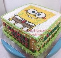 sponge bob cake buat fathir