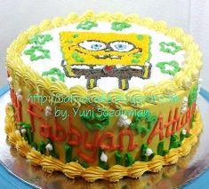 cake ultah spongebob pesanan mama fabbyan