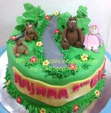 kue ulang tahun marsha & the bear pesanan mbak rima