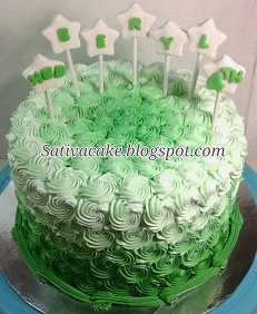 Green Ombre cake buat beryl