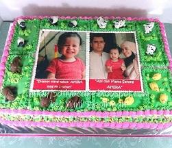cake ultah tema peternakan buat Amira