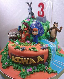 cake ultah tema masha & the bear pesanan mbak reni & pak budi